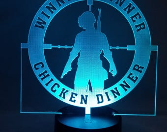 Player Unknown Undergrounds lamp, winner winner chicken dinner, gaming geeky gifts