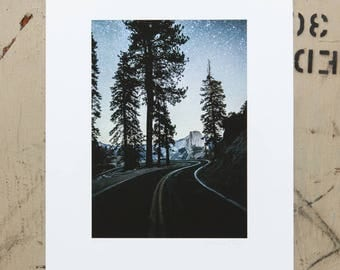Half Dome and Glacier Point Rd. Under the Stars, Yosemite National Park, California, Sierra Nevada Mountains, art, photography, Night