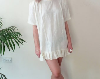 80s oversized cream satin tunic dress with frill hem