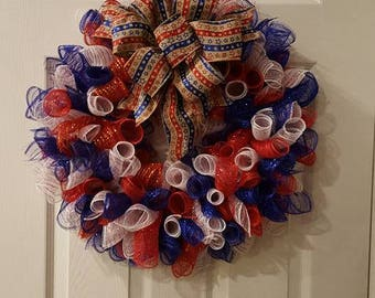 Wreath w/burlap removable stars &stripes bow , 4th of July wreath, 4th of July deco mesh wreath, front door wreath, wall wreath.