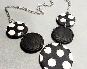 Necklace white black polka dots fimo, light 60s