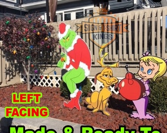 GRINCH Stealing Max The Dog & Cindy Lou Who CHRISTMAS Lights Yard Art Decor LEFT Facing Grinch Free Shipping