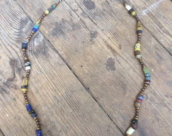 Long vintage African trade bead necklace