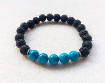 Essential Oil Diffuser Bracelet, Lava Stone and Turquoise Gemstone Stretch Bracelet