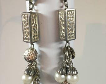 Vintage silver tone and faux pearl pierced earrings