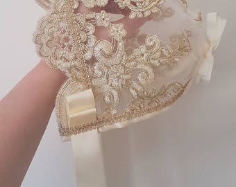 Luxe Embroidered Champagne Gold Lace Christening Baby Bonnet... baby photography bonnet prop