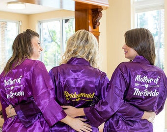 Set of 7 Bridesmaid Robes, Custom Bridesmaid Gifts, Getting Ready Robes, Bridal Robes Set, Bridal Party Gifts, Satin Floral Robe, Kimono