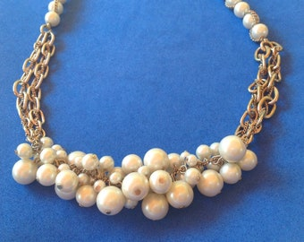 """Faux pearl cluster gold tone choker necklace - signed """"ABS""""."""