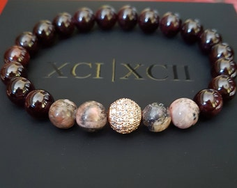 Gift for Every Occasion: Garnet Rhodonite Gemstone Bracelet Rose Gold Cubic Zirconia