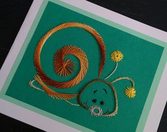 Greeting card, hand embroidered snail
