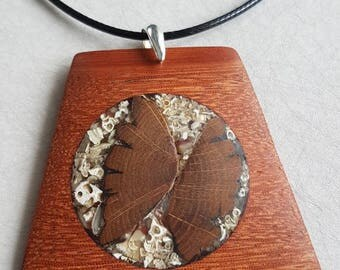 Wood pendant - Oak, Bilinga wood.  Wooden butterfly