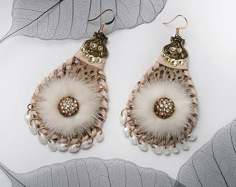 STATEMENT Soft Beige Lamb Skin Leather Natural Mink Fashion Earrings with Swarovski Crystals