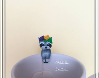 Cute raccoon tea bag holder