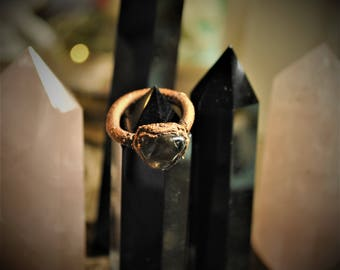 Smokey quartz and copper ring size 5