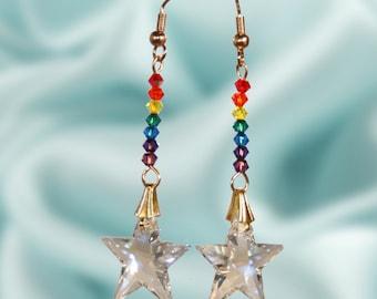Rainbow and Stars Swarovski Crystal Earrings