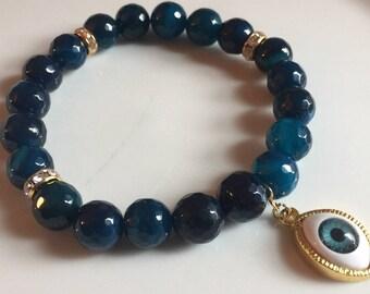 Dark Blue Agate 3rd Eye Crystal Beaded Bracelet