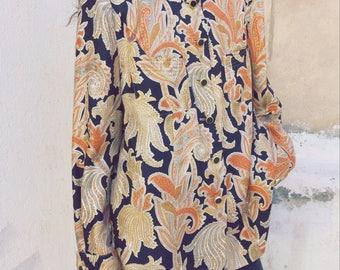 Vintage silk paisley like patterned shirt