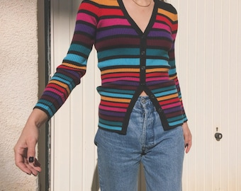 Vintage 90s Kookai merino wool blend multicolored ribbed knit