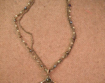 Vintage Necklace Multi Stone w/Pendant
