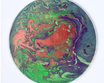 Original Abstract Painting - Acrylic fluid flow art (Round - Green/Copper/Purple/Blue)