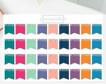 Glitter Accent Page Flags - Functional   Planner Stickers