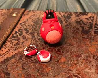 Red Minster/Mini Monster/OOAK/adopt a minster/food dish/collectibles/