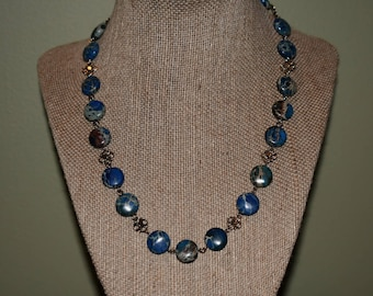 Navy Blue Marble Beaded Necklace