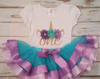 Mystical Unicorn Aqua Lavender Purple and Gold 1st or 2nd Birthday 3d Shirt and Ribbon Tutu Birthday Outfit
