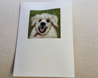 Needle felted greetings card -  Labrador puppy