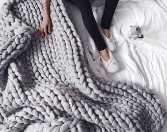 chunky knit blanket etsy. Black Bedroom Furniture Sets. Home Design Ideas
