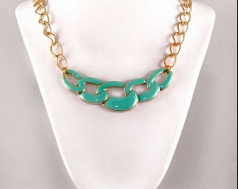 Mint chain link pendant necklace