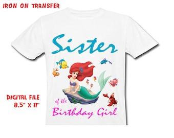 Little Mermaid Iron On Transfer Diy - SISTER - Sister Birthday Shirt Design - Sister DIY Birthday Shirt - Digital Files - Instant Download