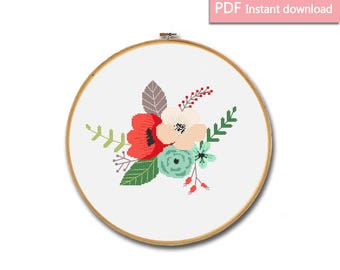 Bouquet of flowers cross stitch pattern Modern cross stitch Floral design hoop Floral cross stitch Pdf download Floral embroidery chart