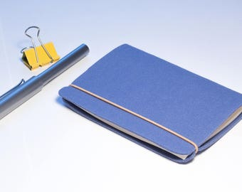 Little handmade sketchbook with blue felt cover