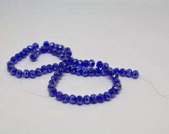 Blue  * Royal Blue * Bright Blue* AB Finish * 4mm Crystal Glass Beads * 20 Pieces