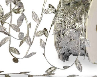 30 FT. Silver Leaf Garland Cord Ribbon Fall Autumn Gift Wrapping Luxury Ribbon Silver Leaves Roll Christmas Party Wholesale Sale Foliage