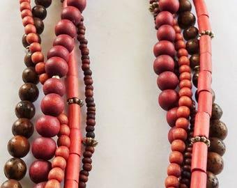 Multi strand wood necklace