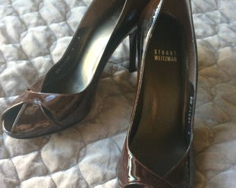 Stuart Weitzman Brown Patent Leather Heels Sz 9