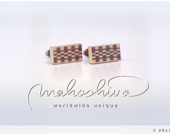 wooden cuff links wood walnut maple handmade unique exclusive limited jewelry - mahoshiva k 2017-75