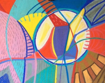 Colourful, organic, abstract, intuitive drawing/painting