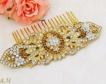Gold Hair Comb, Bridal Hair Comb, Crystal Bridal Hair Piece, Wedding Jewelry, Bridal Headpiece , Rhinestone Gold Hair Comb
