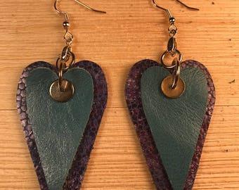 Leather earrings, Double heart leather earrings, Valentine earrings,