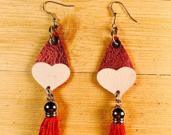 Valentine's Day, Red leather with heart, Tassel, Red and white leather, drop earrings