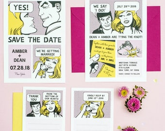 Comic Strip Unique Wedding Invitation Printable Set of 4