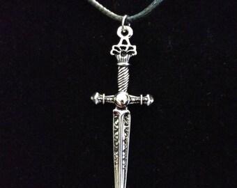 Silver Sword Corded Necklace
