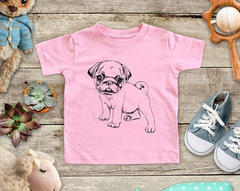 Pug dog illustration - cute pet animal funny Baby bodysuit or Toddler Shirt or Youth Shirt - cute birthday baby shower gift