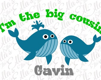 I'm the big cousin boys personalized whale shirt