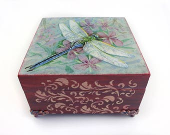 Wooden Box Home decor Decorative Box Vintage Box Storage drawer Jewelry Box Memory Box Decoupage box Decoupage Deco Gift