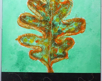 "Leaf Upright 12""x24"" acrylic on board w/ varnish, wood backing, ready to hang"