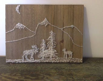 Deer and moose string art